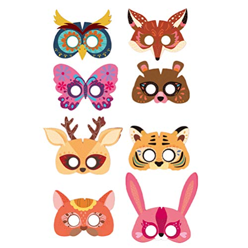 NUOBESTY Paper Animal Crafts DIY Face Mouth Cover for Cosplay Party Favors Birthday Supplies Art Craft Kit Kids 8Pcs
