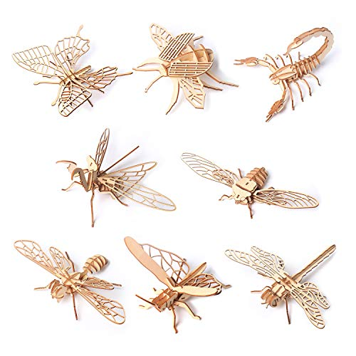 xingYun Wooden 3D Puzzle Model Kits – 8pcs Mini Animals Toy Kit Insect Craft Puzzles-Wooden Educational Gifts for Boys and Girls