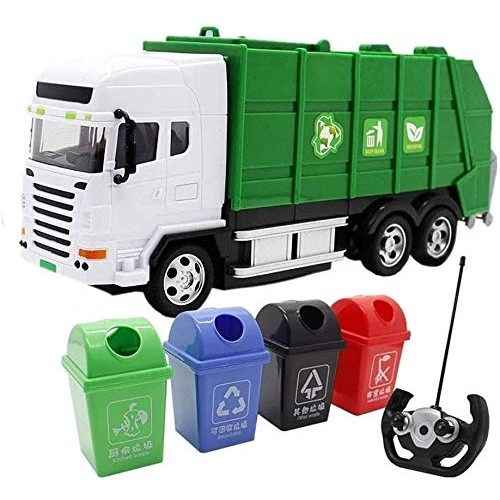 Zhangl Rc Garbage Rubbish Waste Truck Toy Car Kids Remote Control Transport Truck Recycling