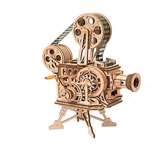 SKAJOSDA 3D Wooden Film Projector PuzzleMechanical Model Kits DIY Craft Vitascope Gift for Adults Teens and Kids 183Pcs