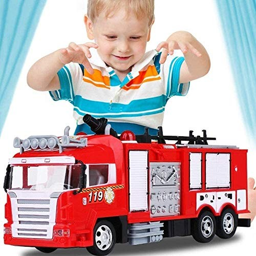 Zhangl RC Remote Control Cars Simulation Fire Truck One-Button Water Spray Toy Rescue Car