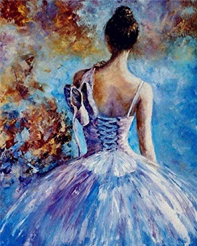 N C DIY Oil Painting Paint by Number Kits for Adults and Kids Arts Craft Home Wall Decor-Dancing Girl 1620 inch Frameless