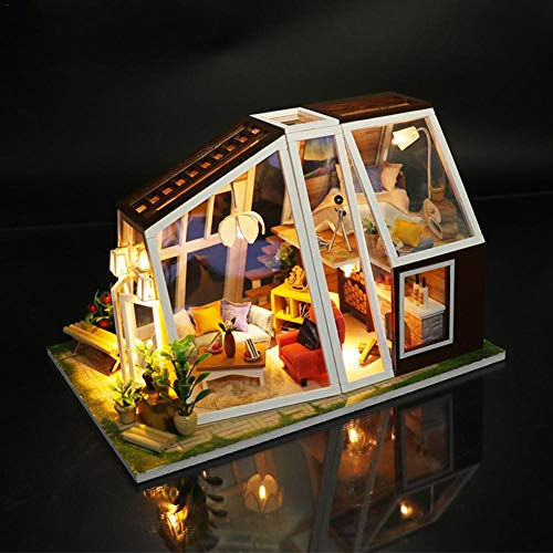 DIY Cottage Innovative Model Hand Assembled Birthday Gift Puzzle Miniature 3D Greenhouse Craft Kit for Adult Doll House