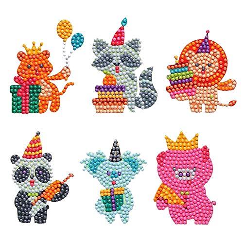 KTCLCATF 6PCS 5D DIY Diamond Painting Kits for Baby Kids BeginnersFunny Mosaic Rhinestone Stickers with Diamonds Arts Crafts Children Paint Gift Animal