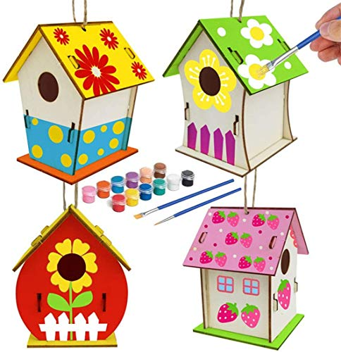 YingYing 4 Sets Crafts for Kids Ages 4-10 DIY Bird House KitsUnfinished Paintable Birdhouse Kits to Build Includes Paints & Brushes Wooden Arts 8-12