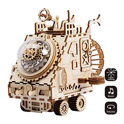 HYZY 3D Three-Dimensional Puzzle Handmade Wooden Educational Music Box Craft Kit Spaceship Toy DIY Robot