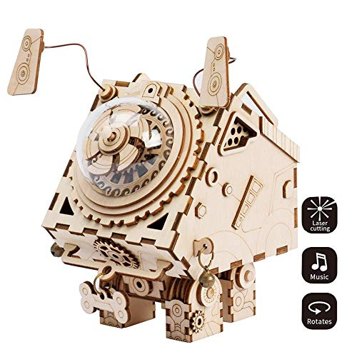 HYZY 3D Three-Dimensional Puzzle Handmade Wooden Educational Music Box Craft Kit Robot Dog Toy DIY Mechanical Model