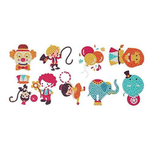 KTCLCATF 5D DIY Diamond Painting Kits for Baby Kids BeginnersFunny Mosaic Rhinestone Stickers with Diamonds Arts Crafts Children Paint Gift Circus Troupe Clown 9PCS