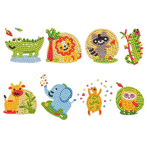 5D DIY Diamond Painting Kits for Kids and Adult BeginnersMosaic Stickers Paint with Diamonds Arts Crafts Gift- Cute Animals Crocodile Lion Civet Tortoise 8PCS