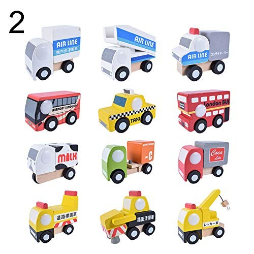 N-R RUxuean1 12Pcs/Set Simulation Wooden Car Truck Model Educational Toy Birthday Gift for Kids