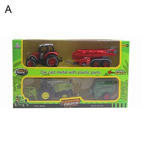 N-R RUxuean1 2Pcs 1/42 Diecast Tractor Harvester Farm Vehicle Car Model Toy Xmas Gift
