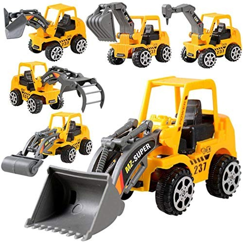 ierkag 6Pcs Construction Vehicle Truck Toy Cars Pull Back Engineering Children Kids Play Vehicles