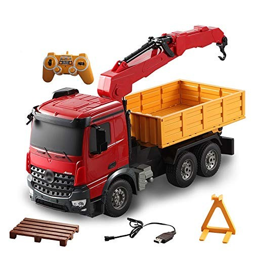 AIOJY Large Remote Control Engineering Truck with Truck Crane Crane Transporter Charging Children Boy