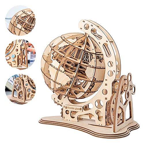 Yipianyun 3D Wooden Globe Puzzle DIY Assembly Jigsaw for Kids and Adults Craft Model Building Kits Educational Toy Brain Teaser Puzzles