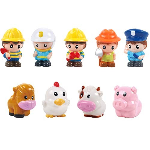 Play 2 Grow People Figures and Farm Animals Playset Set of 9 Dollhouse Figure