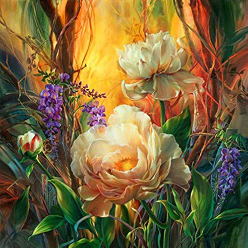 DIY 5D Diamond Painting Kit Round Full Drill Embroidery Cross Stitch Arts Craft Canvas Supply for Home Wall Decor GiftFlowers-16x16in