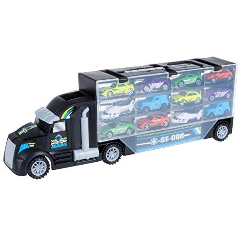 Semi-Truck Car Hauler Toy Set with Helipad – Includes 10 Cars and 2 Helicopters!