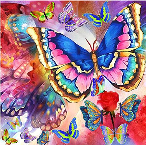DIY 5D Diamond Painting Kit Round Full Drill Embroidery Cross Stitch Arts Craft Canvas Supply for Home Wall Decor Giftbutterfly-16x16in