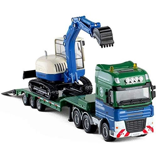 Zeyujie Flatbed Trailer with Bulldozer semi-Trailer Alloy Engineering car Children Toy Model 1:50 Excavator