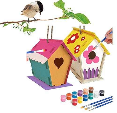 MEBBNE Crafts for Kids 2 Pack DIY Bird House Kit – Birdhouse to Paint and Decorate Arts Wooden Design Build Your own