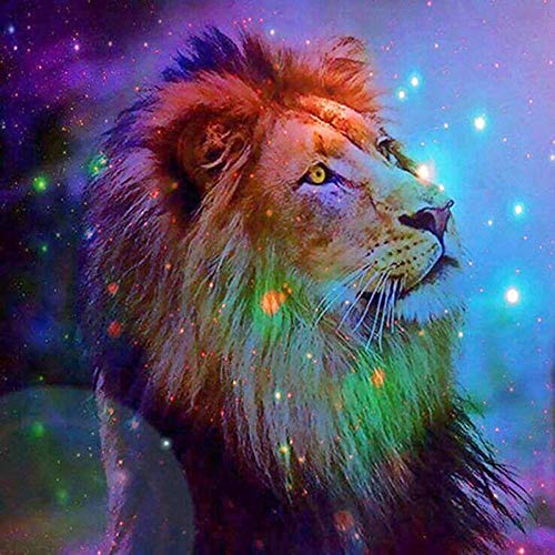 DIY 5D Diamond Painting by Number Kits Cross Stitch Full Drill Crystal Rhinestone Embroidery Pictures Arts Craft for Home Wall Decor GiftColor lion-40x40cm 16x16in