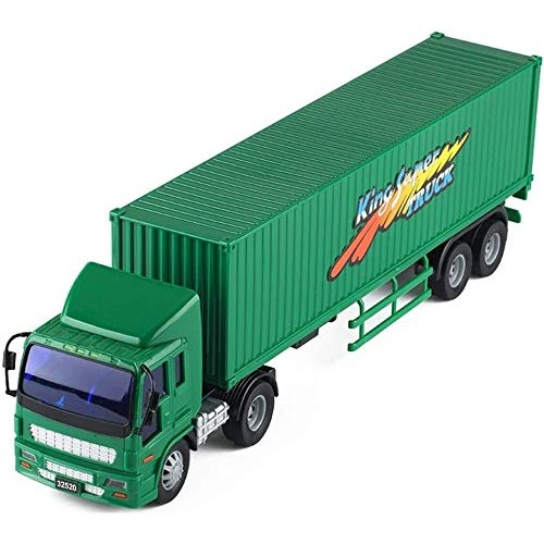 Zeyujie Green Postal Express car semi-Trailer Model car Large inertial Container Truck Puzzle Container
