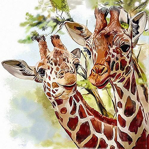 DIY 5D Diamond Painting by Number Kits Cross Stitch Full Drill Crystal Rhinestone Embroidery Pictures Arts Craft for Home Wall Decor Giftgiraffe-40x40cm 16x16in