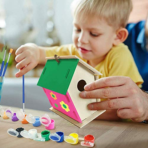 LLJEkieee Crafts for Kids Ages 4-8 2Pack DIY Bird House Kit Build and Paint Birdhous 30ml