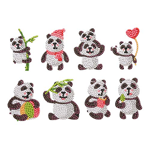 MEQUER Cute Panda Diamond Painting Kits for Kids and Adult Beginners -8 PCS DIY Handmade by Number Arts Crafts Mosaic Stickers
