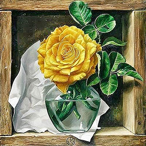 DIY 5D Diamond Painting Kit Round Full Drill Embroidery Cross Stitch Arts Craft Canvas Supply for Home Wall Decor GiftRose flowers-16x16in