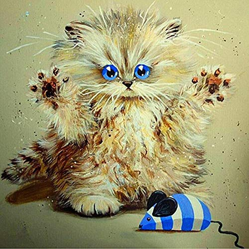 DIY 5D Diamond Painting Kit Round Full Drill Embroidery Cross Stitch Arts Craft Canvas Supply for Home Wall Decor Giftcute cat-16x16in