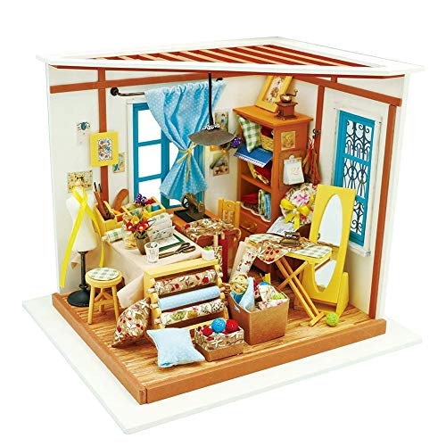 HGYYIO DIY Art House Crafts Wooden Miniature Dollhouse Kit 3D Model Building Setswith Light Suitable for Children Over 14 Years Old