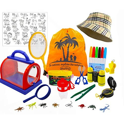 RUVVAS Bug Catcher Kit and Outdoor Exploration Kit for Kids with Binoculars Magnifying Glass
