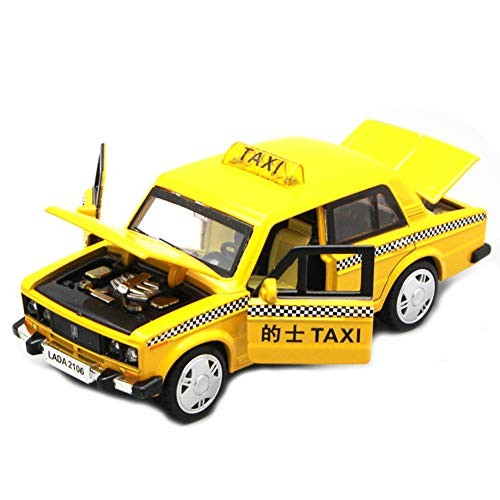 helegeSONG Taxi Cabs Toy 1/32 Alloy Taxi Car Model Pull Back LED Music Table