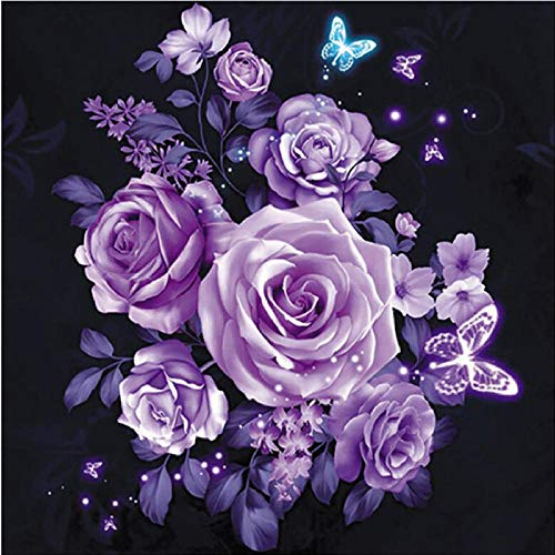 DIY 5D Diamond Painting Kit Round Full Drill Embroidery Cross Stitch Arts Craft Canvas Supply for Home Wall Decor GiftPurple flower-16x16in