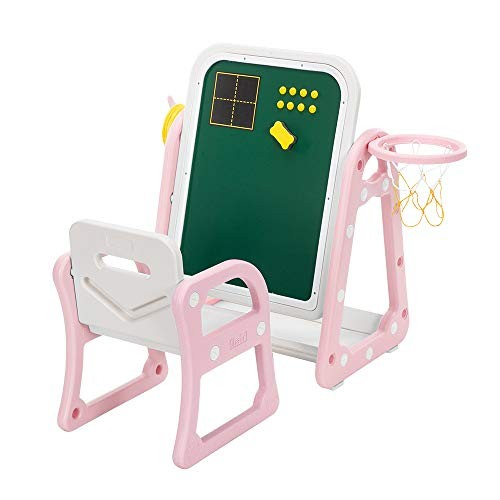 Wapeka Toddlers Art Easel with Stool Kids Drawing Board Desk and Chair Set for Arts & Crafts Homeschooling Basketball Hoop Play Station