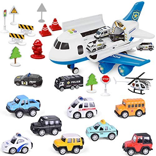 Airplane Toys with 14 PC Pull Back Die-cast Toy Cars