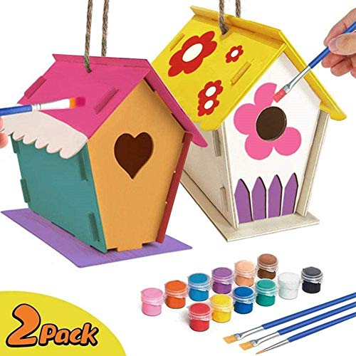 MEBBNE Crafts for Kids Ages 4-8 – 2 Pieces DIY Bird House Kit Includes Paints & Brushes Design Your Own Wooden Birdhouses Build and Paint Birdhouse