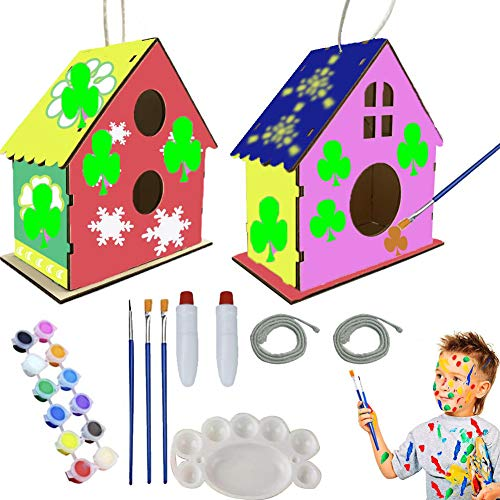 LHIESN DIY Bird House Kit for Kids 2pcs Build and Paint Birdhouse with Paints Brushes Paintable Puzzle Wooden Art Craft Toys