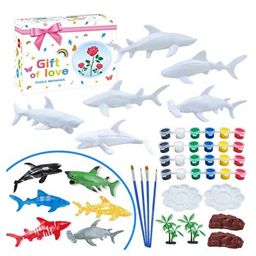 xuways Toys 40PC DIY Coloring Painting Shark Model Drawing Graffiti Gift for Kid Childs Boys Girls