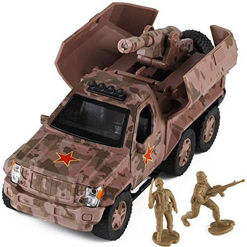 Zeyujie Off-road armored truck cannon explosion-proof car children military car model simulation alloy car