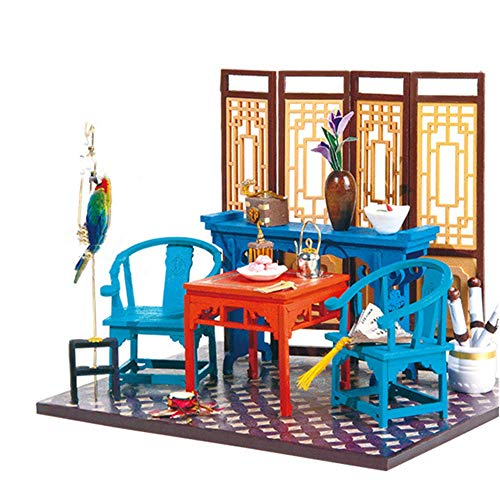 Teerwere Toy House Miniature DIY Antique Cottage Model Dollhouse Kit Mini Room Craft with Furniture Creative Birthday Gift for Women and Girls Building