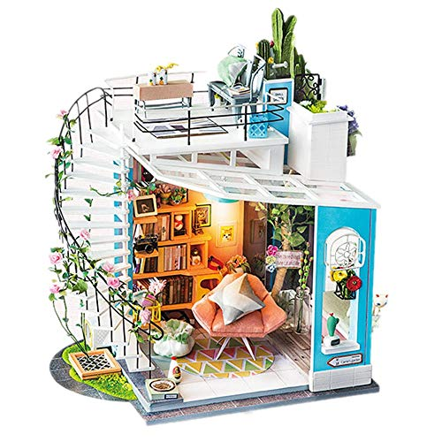 Teerwere Toy House Miniature DIY Building Model Dollhouse Kit Mini Room Craft with Furniture Creative Birthday Gift Color Size 23x26x16CM