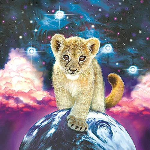 DIY 5D Diamond Painting Kit Round Full Drill Embroidery Cross Stitch Arts Craft Canvas Supply for Home Wall Decor GiftLittle lion-16x16in