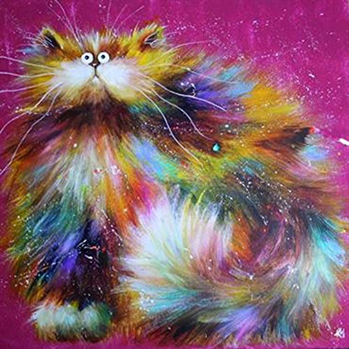 Diy 5D Diamond Painting Kit Colored Cat Round Full Drill Embroidery Cross Stitch Arts Craft Canvas Supply For Home Wall Decor Adults And Kids-16×16 Inches