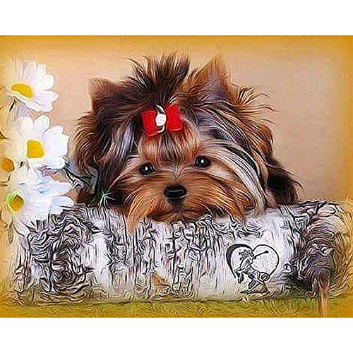 Diy 5D Diamond Painting Kit Dog Round Full Drill Embroidery Cross Stitch Arts Craft Canvas Supply For Home Wall Decor Adults And Kids-12×16 Inches