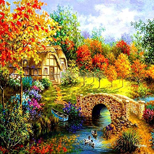 Diy 5D Diamond Painting Kit Scenic Cabin Round Full Drill Embroidery Cross Stitch Arts Craft Canvas Supply For Home Wall Decor Adults And Kids-16×16 Inches
