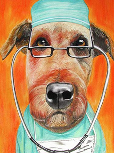 Diy 5D Diamond Painting Kit Dog Doctor Round Full Drill Embroidery Cross Stitch Arts Craft Canvas Supply For Home Wall Decor Adults And Kids-12×16 Inches