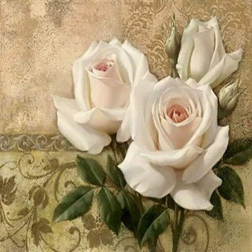 Diy 5D Diamond Painting Kit White Flower Round Full Drill Embroidery Cross Stitch Arts Craft Canvas Supply For Home Wall Decor Adults And Kids-16×16 Inches