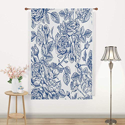 Botany Flower Thermal Insulated Blackout Curtain Adjustable Balloon Shade Rod Pocket Panel Kids Room Nursery Windows 23 Wide by 64 Long Coloring Book Floral Line Art